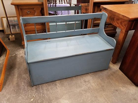Light Blue Distressed Flip Top Wood Storage Bench