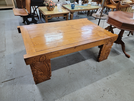 Large Solid Wood Coffee Table with Ornate Carved Legs