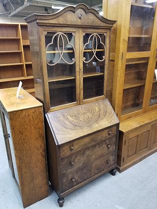 Dark Wood Three Drawer Drop Front Secretary Desk w/ Glass Cabinet Top