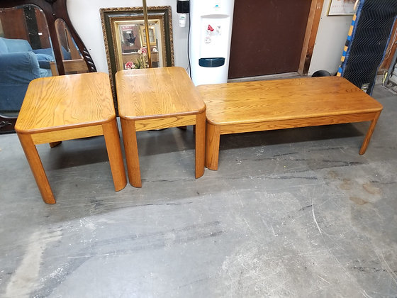 Three Piece Oak Wood Set Including Coffee Table & Two End Tables