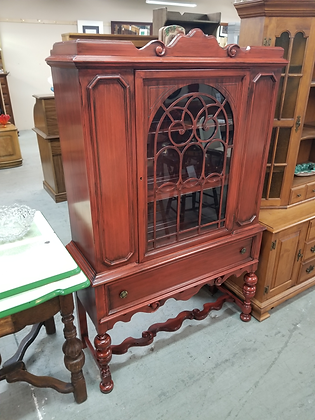 Beautiful Mahogany Wood Glass Front China Cabinet w/ Single Drawer