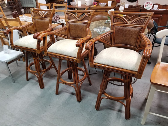Set of Three Palm Springs Rattan Bar Height Swivel Stools