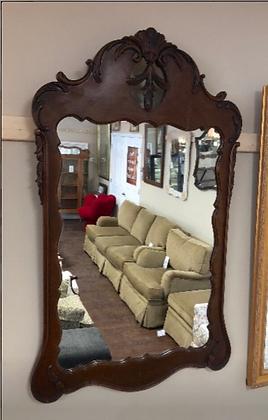Wall Mirror with Ornate Dark Wood Frame #M6