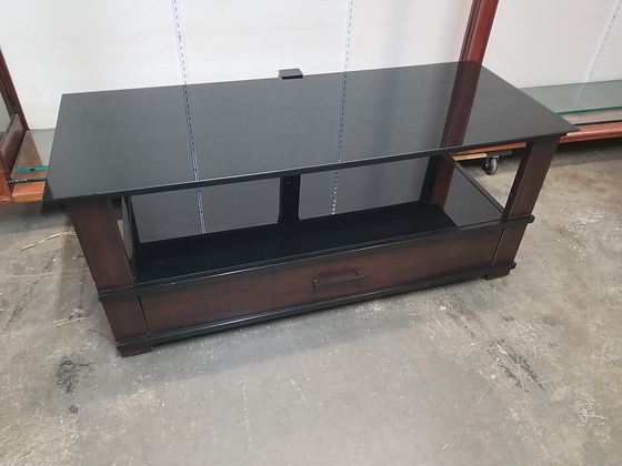 Black Glass Top Two Tier Tv Stand w/ Single Drawer