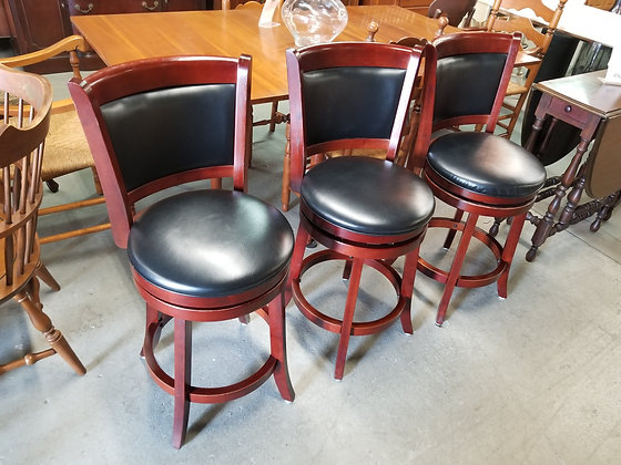 Set of Three Wood Counter Height Stools w/ Black Vinyl Upholstery