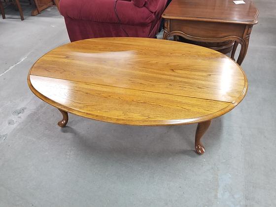 Oval Queen Anne Drop Leaf Oak Wood Coffee Table