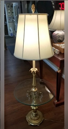 Metal Floor Lamp w/ Round Glass Table Built In #L34
