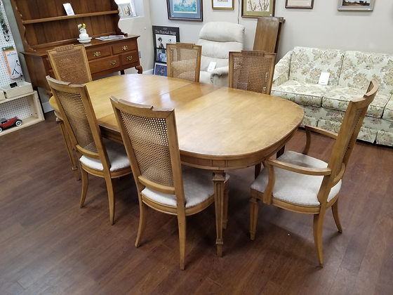 Light Wood Dining Table w/ Six Cane Back Chairs & Three Leaves