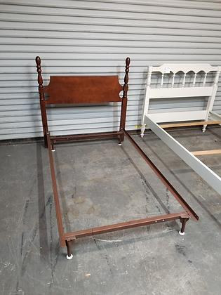 Twin Size Dark Wood Headboard W/ Metal Bed Frame