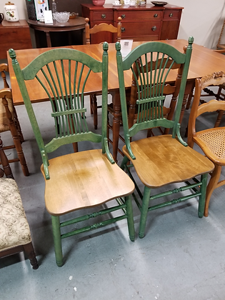 Matching Pair Of Multi Color Green & Wood Tone Dining Chairs