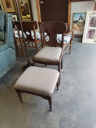 Wood Accent Chair w/ Upholstered Seat & Matching Ottoman