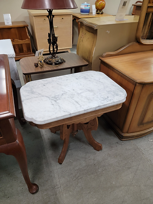 Marble Top Wood Accent Table Stand
