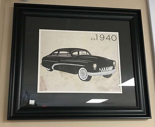 Black Classic Car Wall Art w/ Black Frame #A26