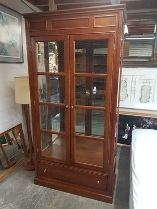 Beautiful Tall Lighted Glass Front Wood Display Case w/ Single Drawer