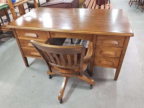 Large Seven Drawer Wood Kneehole Desk w/ Swivel Wood Banker's Chair