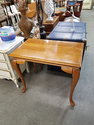 Queen Anne Oak Wood Side Table with Slide Out Trays