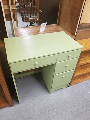Small Four Drawer Green Wood Desk