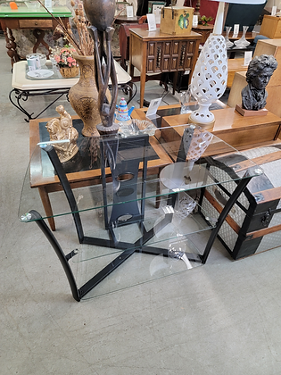Three Tier Glass & Metal Tv Stand Entertainment Stand