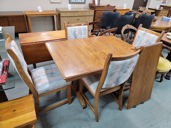 Oak Wood Dining Table with Four Chairs & One Leaf