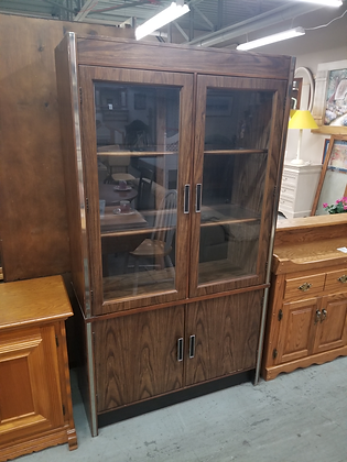 Glass Front Dark Wood China Cabinet w/ Two Glass & Two Wood Doors
