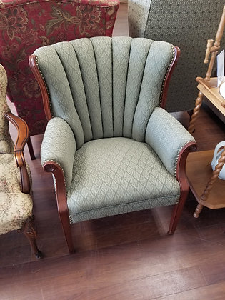 Green Clamshell Back Accent Chair w/ Leaf Pattern Upholstery