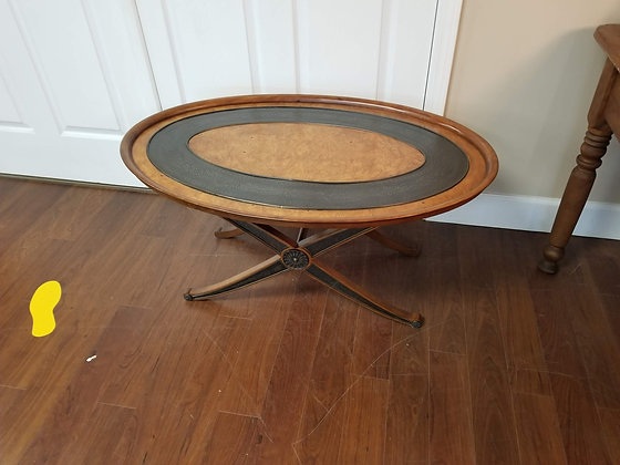 Oval Shape Two Tone Wood Coffee Table / Tray Table w/ Removable Top
