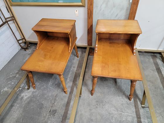 Pair of Cushman Stepback Wood End Tables