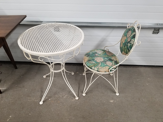 White Metal Bistro Table w/ Matching Floral Upholstered Chair