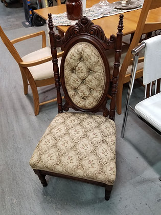 Antique Ornate Dark Wood Accent Chair w/ Tufted Back