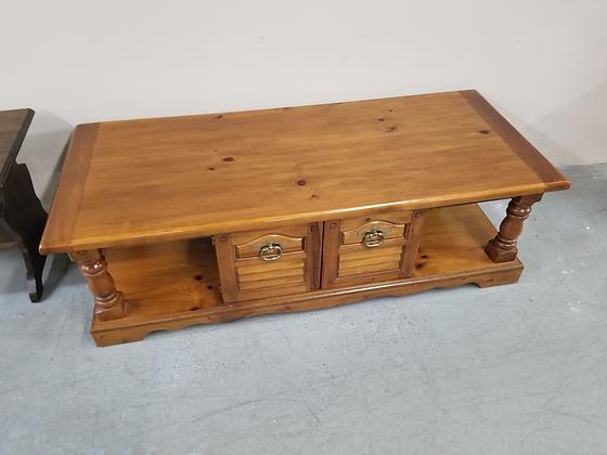Two Door Pine Wood Coffee Table