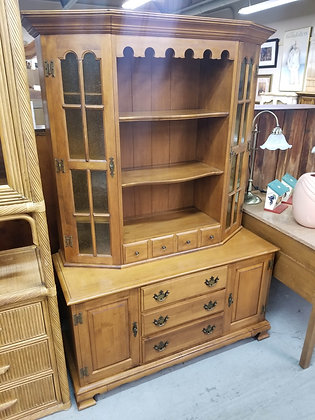 Maple Wood China Cabinet Hutch w/ 4 Drawers + 4 Doors + 2 Shelves