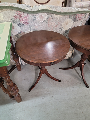 Dark Wood Round Drum Table Accent Table w/ Single Drawer (1 Of 2)