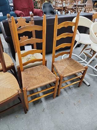 Pair of Ladder Back Dining Chairs with Rush Seats