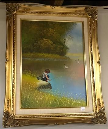Child Fishing on Shore Wall Art #A84