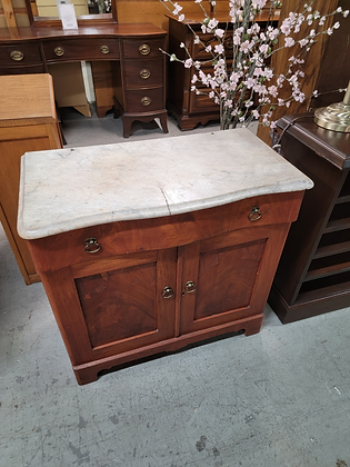 Marble Top Sinhle Drawer Wood Commode / Washstand