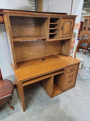 Large Three Drawer Oak Wood Desk w/ Sliding Keyboard Tray & Hutch Top