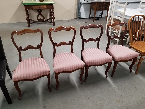 Set Of Four Mahogany Wood Dining Chairs w/ Striped Upholstered Seats