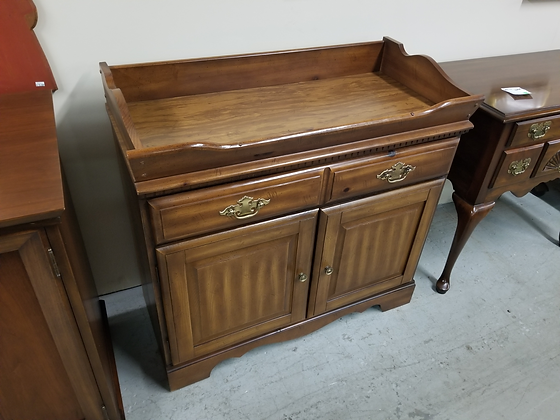 Single Drawer Medium Tone Wood Dry Sink / Server w/ Two Cabinet Doors