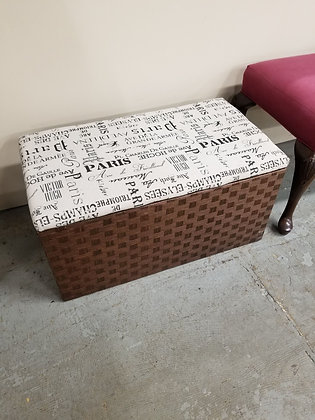 Woven Storage Trunk / Chest w/ Upholstered Flip Top Lid