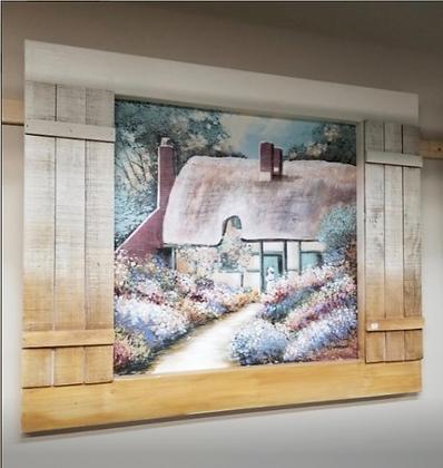 Large Wood Shutter Framed Wall Art #A95