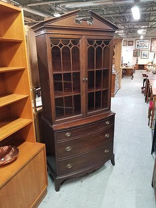 Three Drawer Mahogany Wood Glass Front China Cabinet