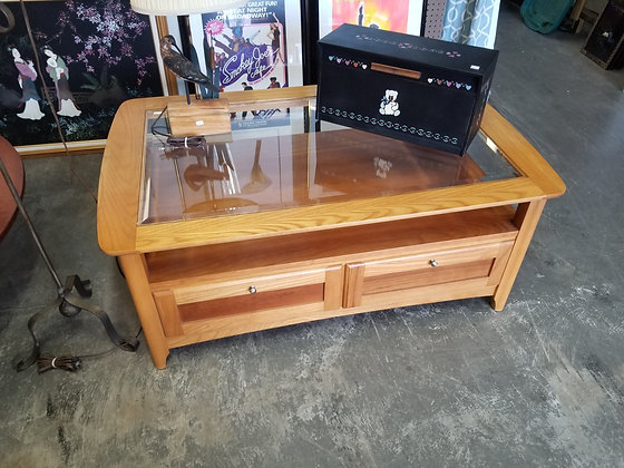 Cherry Wood Glass Top Coffee Table by Riverside