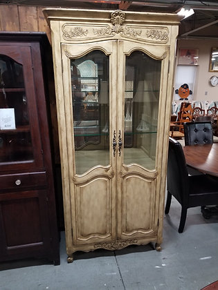 Two Door Lighted Glass Front Light Wood China Cabinet w/ Glass Shelves
