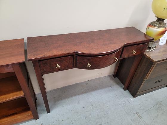 Beautiful Dark Wood Three Drawer Sofa Table / Console Table
