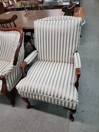 Two Tone Striped Upholstered Wood Accent Chair