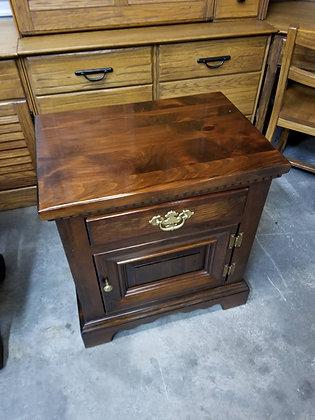 Single Drawer & Single Door Dark Pine Wood End Table / Nightstand