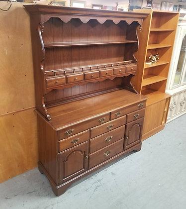 Ethan Allen Wood Hutch w/ Twelve Drawers & Two Cabinet Doors