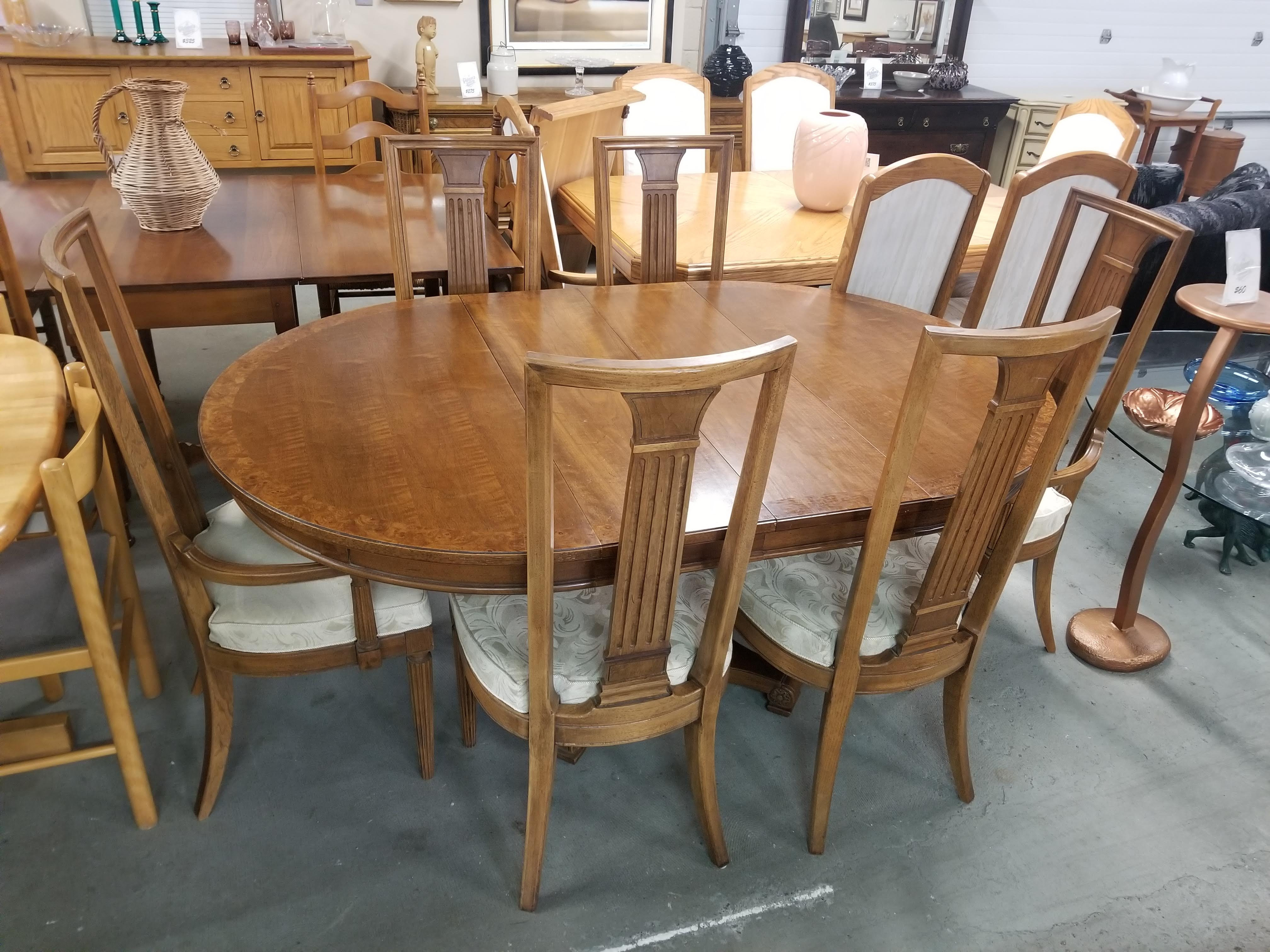 Thomasville Wood Dining Table Set W Six Chairs Two Leaves