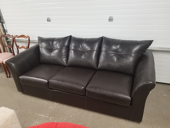 Dark Faux Leather / Vinyl Upholstered Sofa Couch