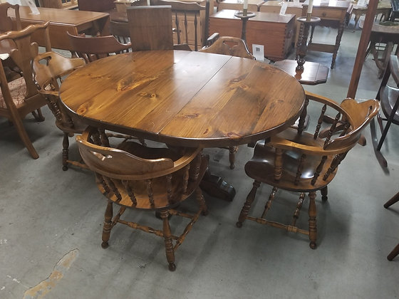 Dark Pine Wood Dining Table w/ 4 Chairs & 2 Leaves by S. Bent & Bros